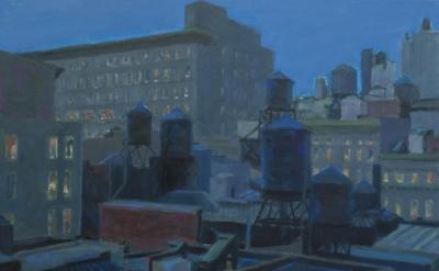 Violet Baxter, Watertower Still Life, 2009, oil on panel (courtesy Jeffrey Leder