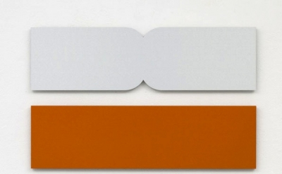 Cecilia Vissers, a moment in time two-part, 2012, anodized aluminum, each 75 x 2