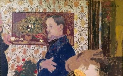 (detail) Edouard Vuillard, Misia and Vallotton at Villeneuve, 1899, oil on cardb