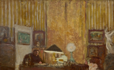 Edouard Vuillard, Thadée Natanson at His Desk, c. 1899, Oil on cardboard, mounte