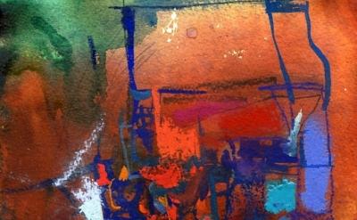 (detail) Louisa Waber, Watercolour, gouache & pastel on paper, 8 x 9 inches, 201