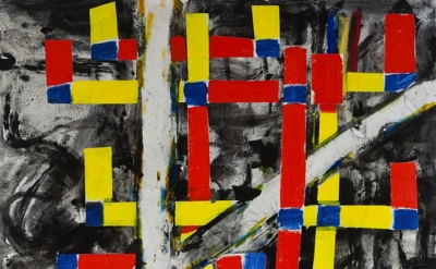 (detail) John Walker, Red and Yellow Birch Cross, 2011, oil on canvas  213.4 x 1