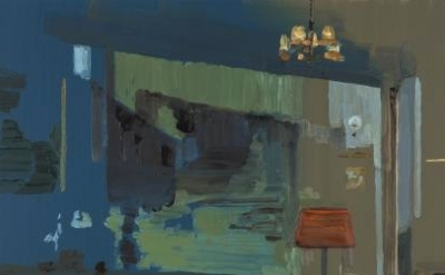 (detail) Richard Walker, Blue Room, 2011, oil on panel, 15 x 22 1/2 inches (cour