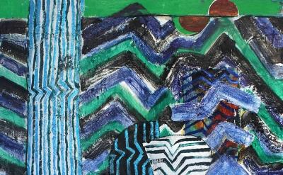(detail) John Walker, Meder's Smoke, 2015, oil on canvas, 72 x 60 inches (courte