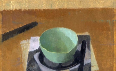 (detail) Susan Jane Walp, Tea Bowl, Photocopy, Cork, and Knife, 2015, oil on ges