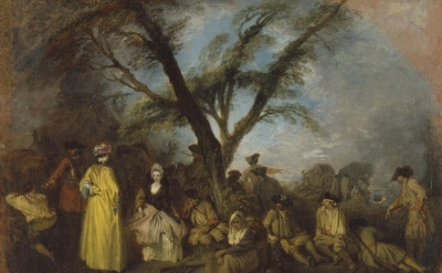 Jean-Antoine Watteau, The Halt, ca. 1710, oil on canvas, 12 5/8 x 16 3/4 inches (Museo Thyssen-Bornemisza, Madrid)