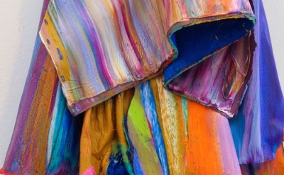 (detail) Leslie Wayne, Paint/Rag #31, 2013, oil on board, 14 x 9 x 4 1/2 inches