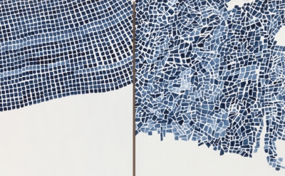 (detail) Marjorie Welish, Before After Oaths Gray 4, 2013, acrylic on panel (diptych), 20 x 32 inches (© Marjorie Welish/courtesy of Art 3)