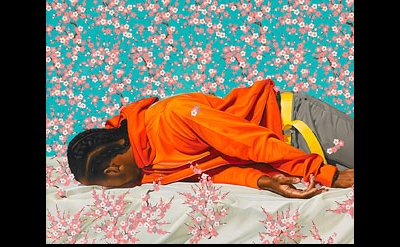 (detail) Kehinde Wiley, The Virgin Martyr St. Cecilia, 2008, oil on canvas 101.5