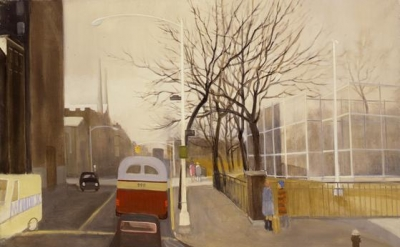Jane Wilson, Avenue B Bus, 1966, oil on canvas, 60 x 75 inches (courtesy of DC M
