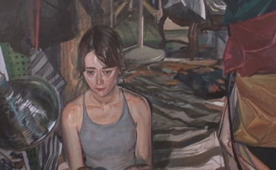 (detail) Jerome Witkin, Alexis Firsty and Her Collection of Socks, oil on canvas