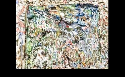 (detail) Scott Wolniak, Tablet XI (Lean-to), 2015, ink, watercolor, gouache, acr