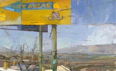 (detail) Andrew Wykes, Just Ahead, 2010, oil on panel, 35 x 35 inches (courtesy