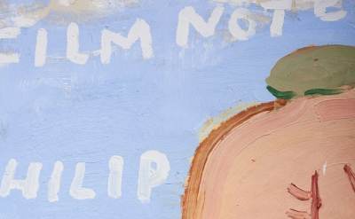 (detail) Rose Wylie, Jack Goes Swimming (Jack), 2013, oil on canvas, 207 x 168 cm (courtesy of a Private Collection)