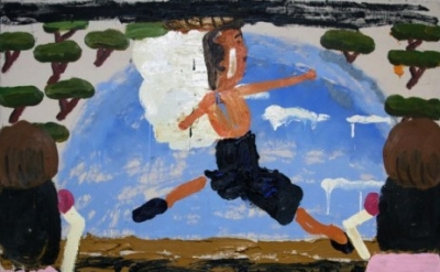 (detail) Rose Wylie, Danish Ballet, 2006, oil on canvas, 70.47 x 72.44 inches (c
