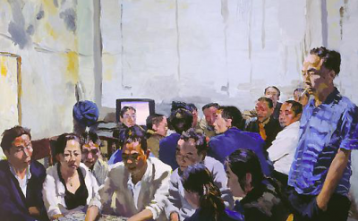 (detail) Liu Xiaodong, Waheed in Lord's Robes, oil on canvas, 90 x 100 cm (court