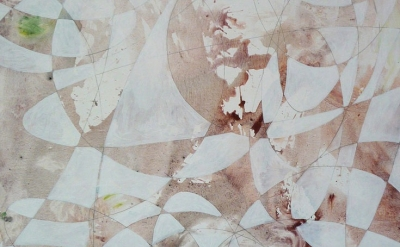 (detail) Peter Young, #52 – 1996, 1996, acrylic and graphite on canvas, 96 x 54