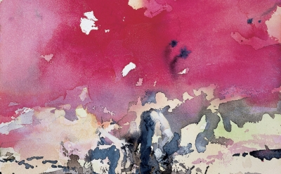 (detail) Zao Wou-Ki, Sans titre (Untitled), 1994, watercolor on paper, 17 × 12 inches (Private collection, Taiwan © Zao Wou-Ki/ProLitteris, Zurich. Rights Reserved)