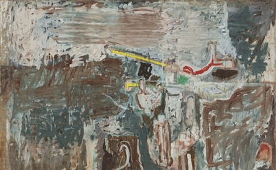 Yosef Zaritsky, Yehiam (Life on the Kibbutz), 1951, oil on burlap mounted on canvas, 208 × 228 cm (Collection of the Tel Aviv Museum of Art)