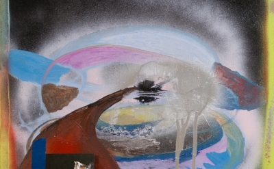(detail) Molly Zuckerman-Hartung, Going into Space, 2009, oil, spray paint, coll