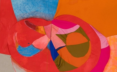 Molly Zuckerman-Hartung, Fruited Void, 2014, acrylic and oil on sewn silk, cotto