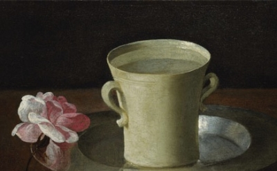 (detail) Francisco de Zurbarán, Cup of Water and a Rose, ca. 1630, oil on canvas