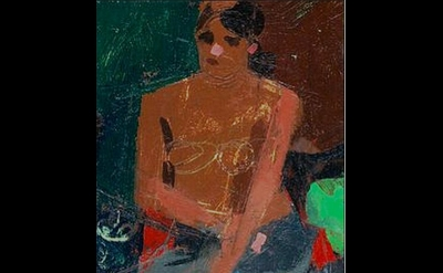 Ken Kewley. The Gray Skirt, oil on board, 10 x 5 inches (courtesy of Thomas Dean