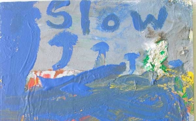 Peter Acheson, Slow Rain, 2012, acrylic with foil on canvas, 24 x 18 inches (cou