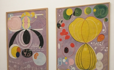 Hilma af Klint,Installation view, Hilma af Klint, The Ten Largest, No. 5 and No. 6, Adulthood, Group IV, 1907 (Serpentine Gallery)