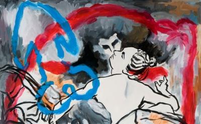 Alan Loehle, Correggio Kiss, 2011, 74 x 54.75, inches, acrylic on canvas (courte