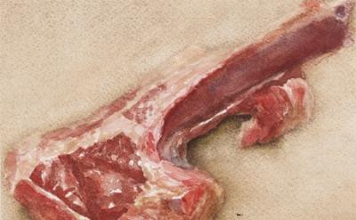 Avigdor Arikha, Lamb Chop, 1975, watercolor on paper, 4 1/4 x 5 1/4 inches (cour