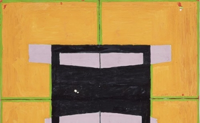 Jo Baer, Untitled, 1960, gouache and collage on paper, 15.3 x 15.3 cm (collectio