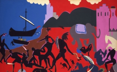 Romare Bearden, Battle with the Cicones, collage, graphite on fiberboard (Currie