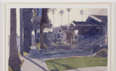 Robert Bechtle, Burbank Street Alameda, 2015, watercolor on paper, 22 1/2 x 30 inches (© Robert Bechtle, photo: David Regen courtesy the artist and Gladstone Gallery, New York and Brussels)