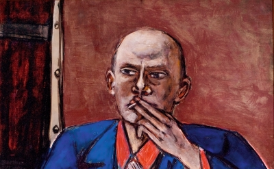 Max Beckmann, Self-Portrait in Blue Jacket, 1950, oil on canvas, 55 1/8 × 36 inches (Saint Louis Art Museum, Bequest of Morton D. May, © 2016 Artists Rights Society (ARS), New York / VG Bild-Kunst, Bonn)