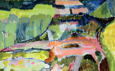 Vanessa Bell, Landscape with a Pond and Water Lilies, 1915