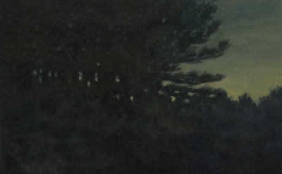 Dozier Bell, Pine woods, clearing, 2014, acrylic on panel, 6 x 6 inches (courtes