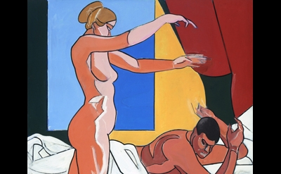 Leland Bell, Two Nudes with Cat, Morning 1989-90, acrylic on canvas, 80 x 64 1/2
