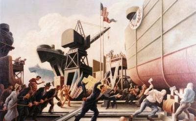 Thomas Hart Benton, Cut The Line, 1944, oil on board, Navy Art Collection, Naval