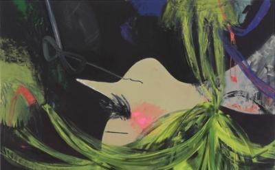 Ellen Berkenblit, A Large Group of Bats, 2011, Oil and charcoal on linen, 90 x 7
