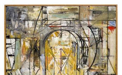 Jake Berthot, 105 (Studio), 1990, oil on linen, 30 3/4 x 20 3/4 inches (courtesy