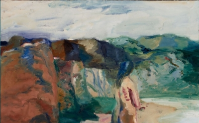 Elmer Bischoff, Figure with White Lake, 1964, oil on canvas, 79 1/2 x 79 1/4 inc