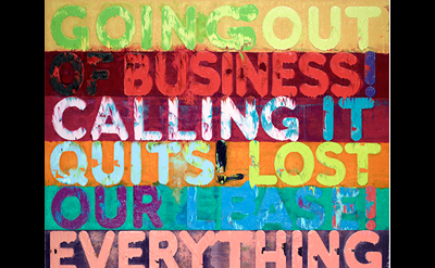 Mel Bochner, Going Out of Business, 2012, oil on velvet, 93 ½ × 70 ¼ inches (Pri