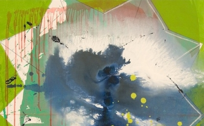 Regina Bogat, Decagon VII, 2008 36 x 30 inches, acrylic, pastel on canvas (court