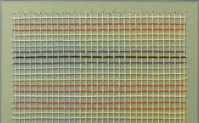 Regina Bogat, Woven Painting 1, 1973, acrylic, cord on canvas, 35 x 35 inches (courtesy of Zürcher Gallery)