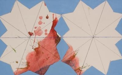 Regina Bogat, Decagon V, 2008, 36 x 30 inches, acrylic, india ink on canvas (cou
