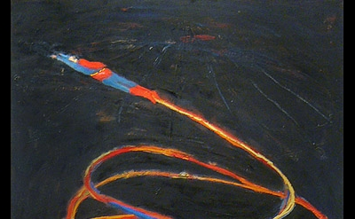 Katherine Bradford, 2011, Super Flyer, Oil on canvas, 48h x 36w inches (courtesy