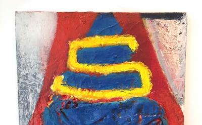 Katherine Bradford, Superman Cape, 2014, 12 x 12 x 3 inches (courtesy of the art