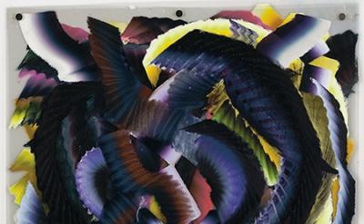 Kerstin Brätsch, Blacky Blocked Radiant Sunbathed, Mylar, 2012, oil on mylar, 1.