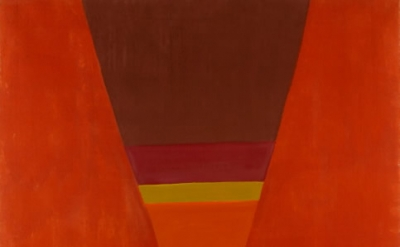 Jack Bush, Pinched Orange, December 1964, oil on canvas, 87 × 70 inches (Collect